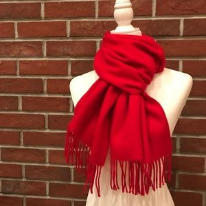 NWOT CASHMERE RED SCARF & FRINGES MADE IN ITALY